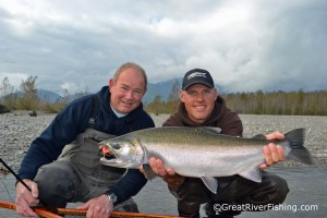 Fly-fishing coho salmon on the Fraser River